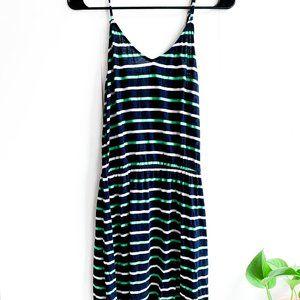 j crew striped navy spring dress elastic waist